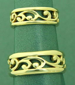R251 Koru wedding band set
