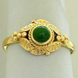 R182 Pounamu NZ Greenstone puriri leaf design in Yellow gold.