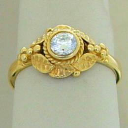 R182 Puriri leaf design Diamond engagement ring in Yellow Gold