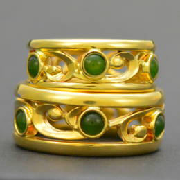 Greenstone and koru wedding ring set