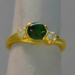 R267 DGD Pounamu NZ Greenstone and Diamond koru engagement in Yellow Gold.