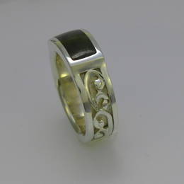 Wedding ring with carved koru design, Pounamu, NZ Greenstone and Stg.Silver.