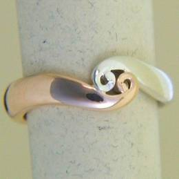 R269 Rose gold and Stg.Silver double koru band