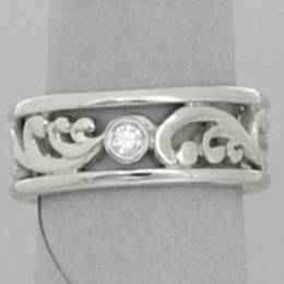 R279 diamond set fine koru band