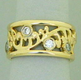 New Zealand Fern Design set with Diamonds in yellow gold