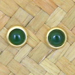 Greenstone and gold stud earrings