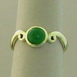 Pounamu NZ Greenstone  on a Koru band set in Stg. Silver.Ring
