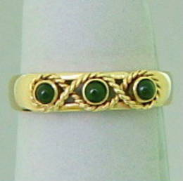 New Zealand Greenstone and gold ring, R325