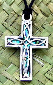 P55 Cross with woven fish design