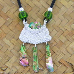 P57 Woven Kete Pendant with paua shell