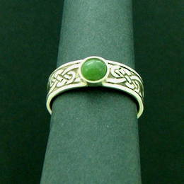 R336 The Celtic Kiwi,  Pounamu NZ Greenstone, on a Celtic knot band in stg Silver.