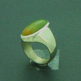 Silver and Pounamu or Greenstone Ring