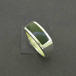Mens wedding ring, NZ greenstone, Pounamu, and Stg.Silver.