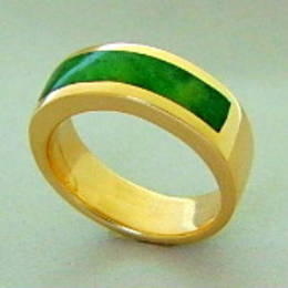 R286 Mens wedding ring, Pounamu NZ greenstone, Pounamu, set in yellow Gold.