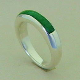 R 296 New Zealand Greenstone and Silver band