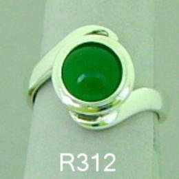 Pounamu NZ greenstone set on a koru band in Stg. Silver.