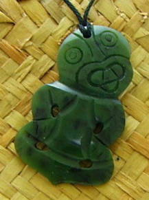 New Zealand Greenstone Hei-Tiki Pendant