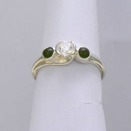 Style R267GDG  Pounamu NZ Greenstone and diamond  in a koru style setting in white gold.
