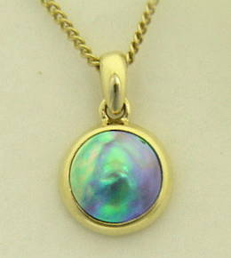 P58 Gold and 8mm. Paua Pearl Pendant