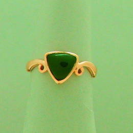 Pounamu NZ greenstone triangle set on a koru band in RoseGold.