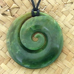NEW ZEALAND GREENSTONE KORU FLOWER PONAMU 1