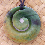 NEW ZEALAND GREENSTONE KORU FLOWER PONAMU 2-916