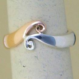R249a Rose gold and Silver Koru Band
