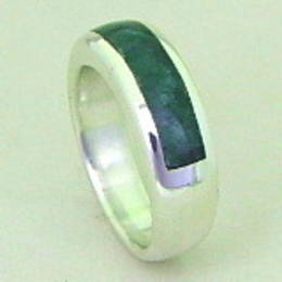 R 295 New Zealand Greenstone and Silver band