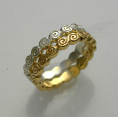 pacifictreasures    R355 YELLOW AND WHITE GOLD KORU SPIRAL BAND SET 3-861-350