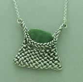 pacifictreasures   Silver kete and chain  with pounamu-649