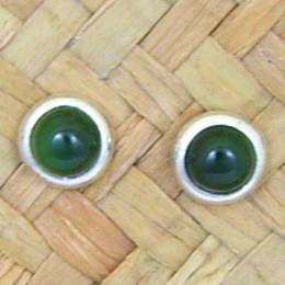 NZ Greenstone and Stg.Silver stud earrings