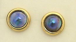 E9 Paua or Blue  pearl gold stud Earrings