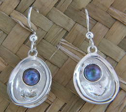 E6 Silver and Paua Pearl Earrings