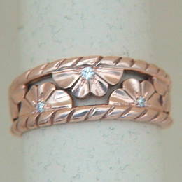 R179 Diamond set Manuka blossom, Rose Gold band